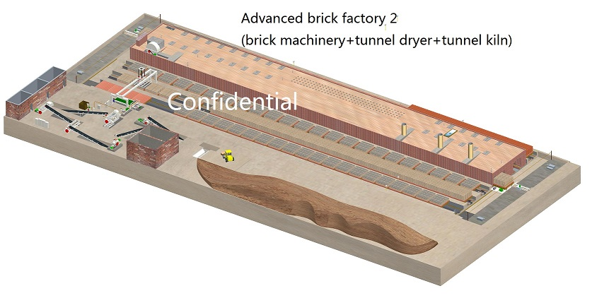 Advanced brick factory 2 (Brick machinery + Tunnel dryer +Tunnel kiln)